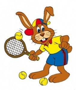 Paashaas-met-tennisracket